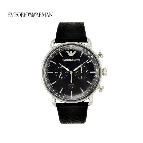 Đồng hồ nam Emporio Armani Aviator dây da - đen