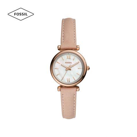 Đồng hồ nữ Fossil Carlie mini dây da - nude