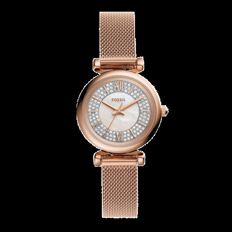 Đồng hồ nữ Fossil Carlie Mini dây thép - rose gold