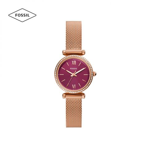 Đồng hồ nữ Fossil Carlie Mini dây thép- rose gold