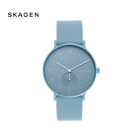 Đồng hồ nam Skagen Aaren dây silicone - xanh dương